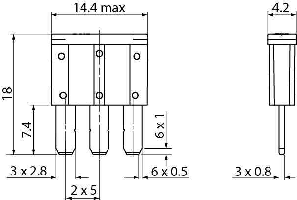 MICRO 3 BLADE 3 PINS TERMINALS FUSE 7.5 AMP 32 VOLT X2