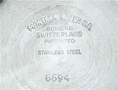 Rolex 6694 Rare Swiss Made 1966 Stainless St 35mm Manual