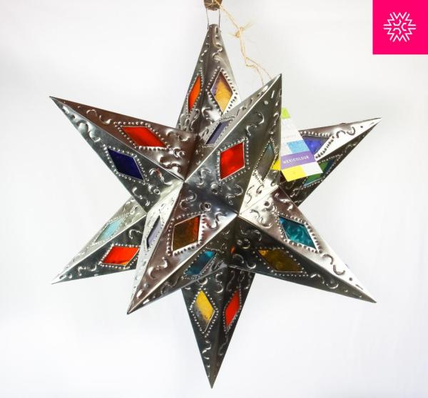 Stained Glass Moravian Star Punched Pierced Metal Tin
