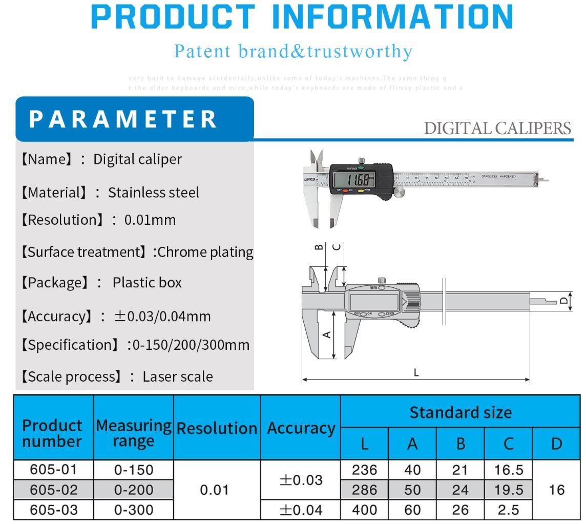 Electronic Digital Caliper 6 8 12 Stainless Steel