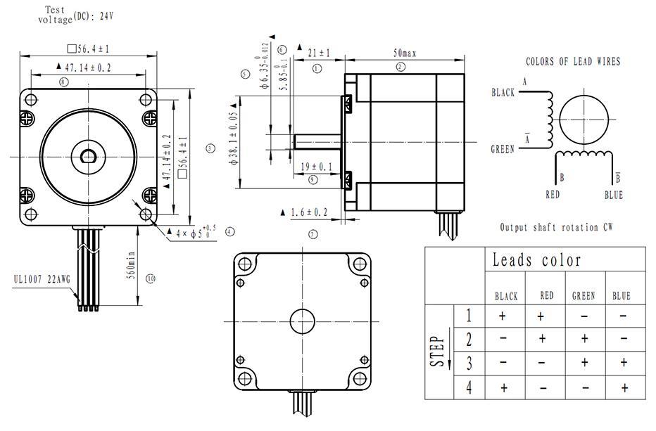 Nema 23 Stepper Motor 4 Wire Bipolar 2 Phase 1.8° 57BYGH