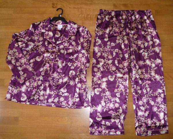 Womens Jaclyn Smith Satin Pajamas Size Sm L Xl 3x Top Pants Red Floral Teal Nw