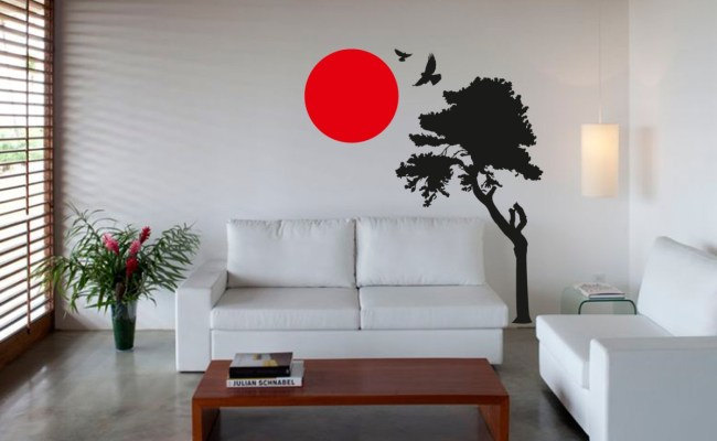 Wall Art Sticker Decal Vinyl Japanese Oriental Tree Sunset