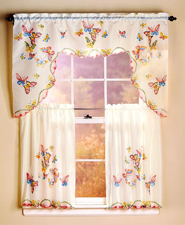 3 PIECE COLORFUL BUTTERFLY KITCHEN COCINA CURTAIN CORTINA