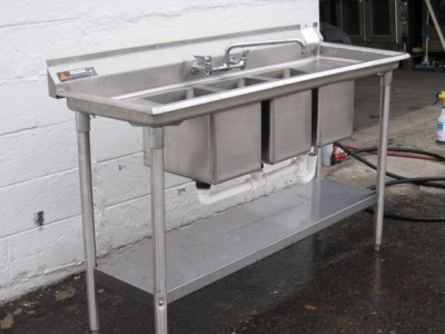 3 BowlCompartment SinkCompact Convenience StoreNSF60 Faucets 2 Drain Board  eBay