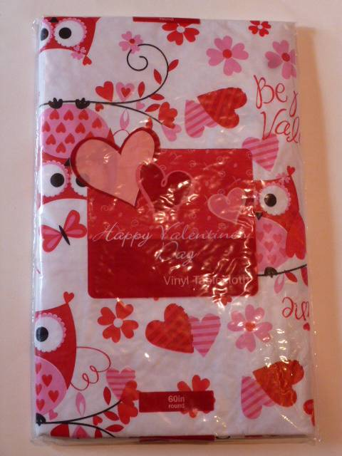 Valentines Day Vinyl Tablecloth Hearts Love XO Red Pink