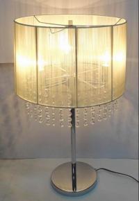 70cm Crystal Chandelier Silver Table Lamp + Black Cream ...