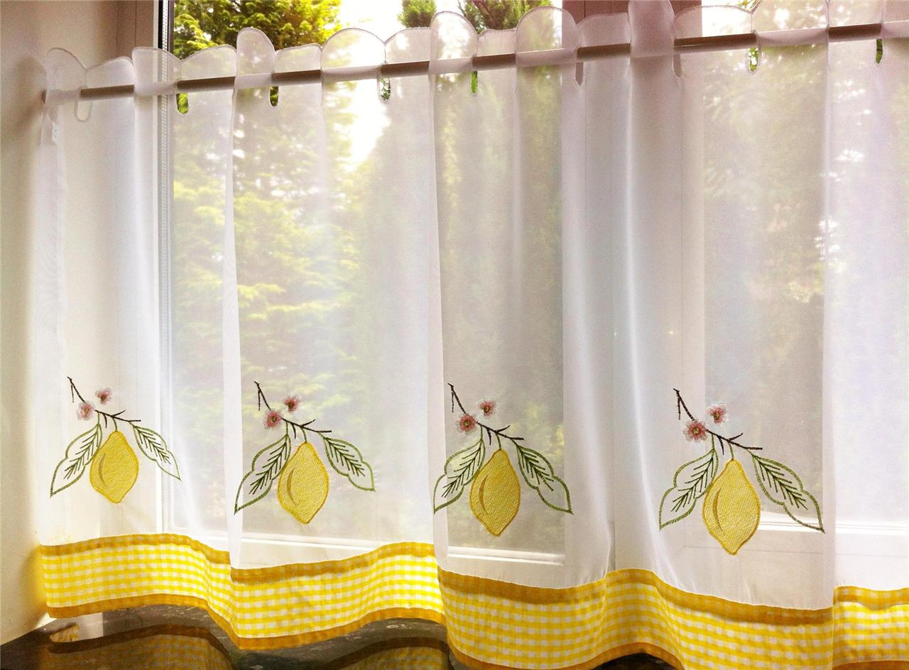 yellow and red kitchen curtains recessed lighting lemon voile cafe net curtain panel