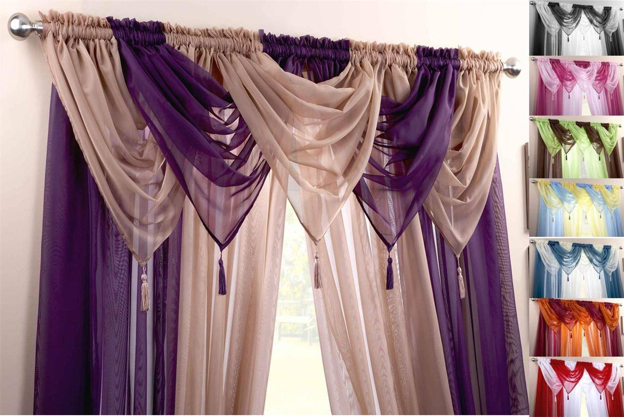 Houndstooth Curtains Ebay - Voile swag swags tassle decorative net curtain drapes pelmet