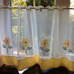 Yellow And Red Kitchen Curtains Pottery Barn Kitchens Sunflower White Voile Cafe Net Curtain Panel
