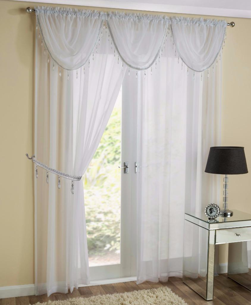 SAPPHIRE 5 PIECE BEADED SWAG  VOILE CURTAIN PANEL SET