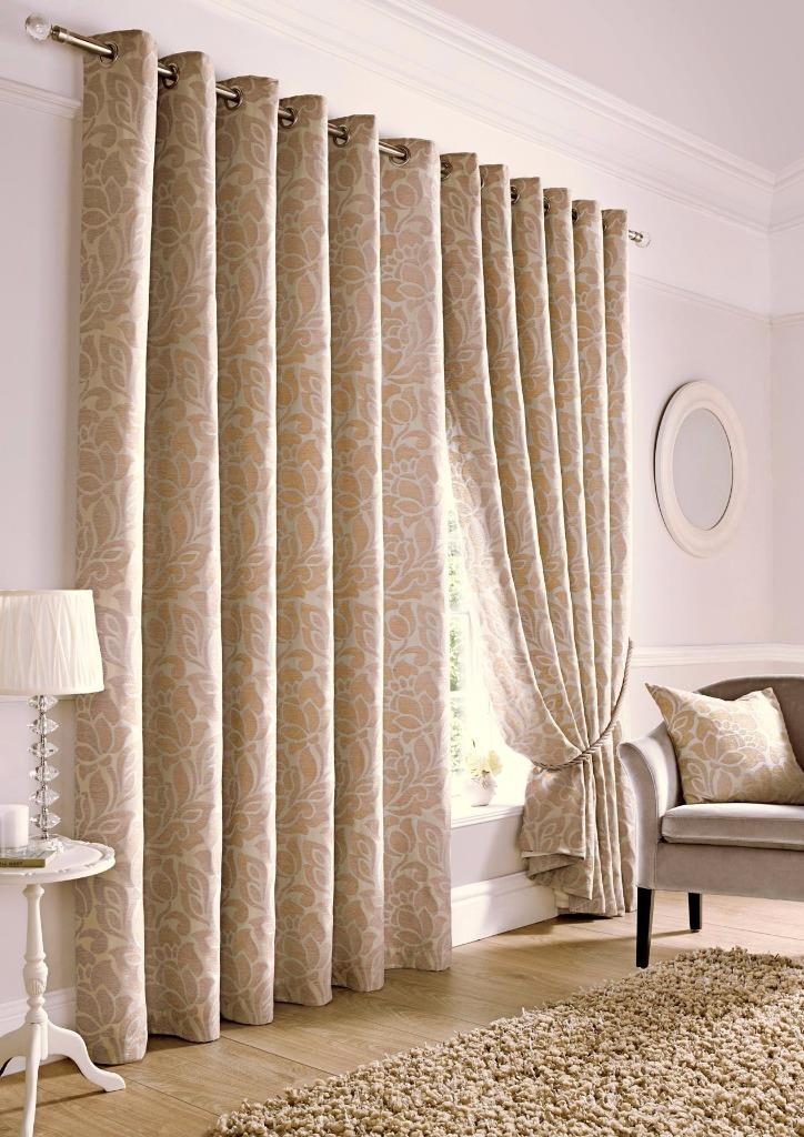 KEW CHENILLE FULLY LINED HEAVY EYELET RING TOP JACQUARD CURTAINS  Many Sizes