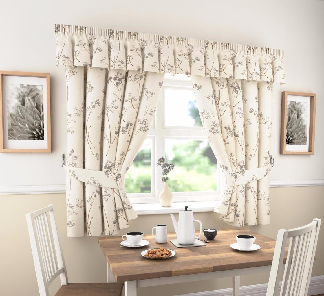 LYDIA THICK PLAIN FLORAL KITCHEN CURTAINS OR PELMET  Many