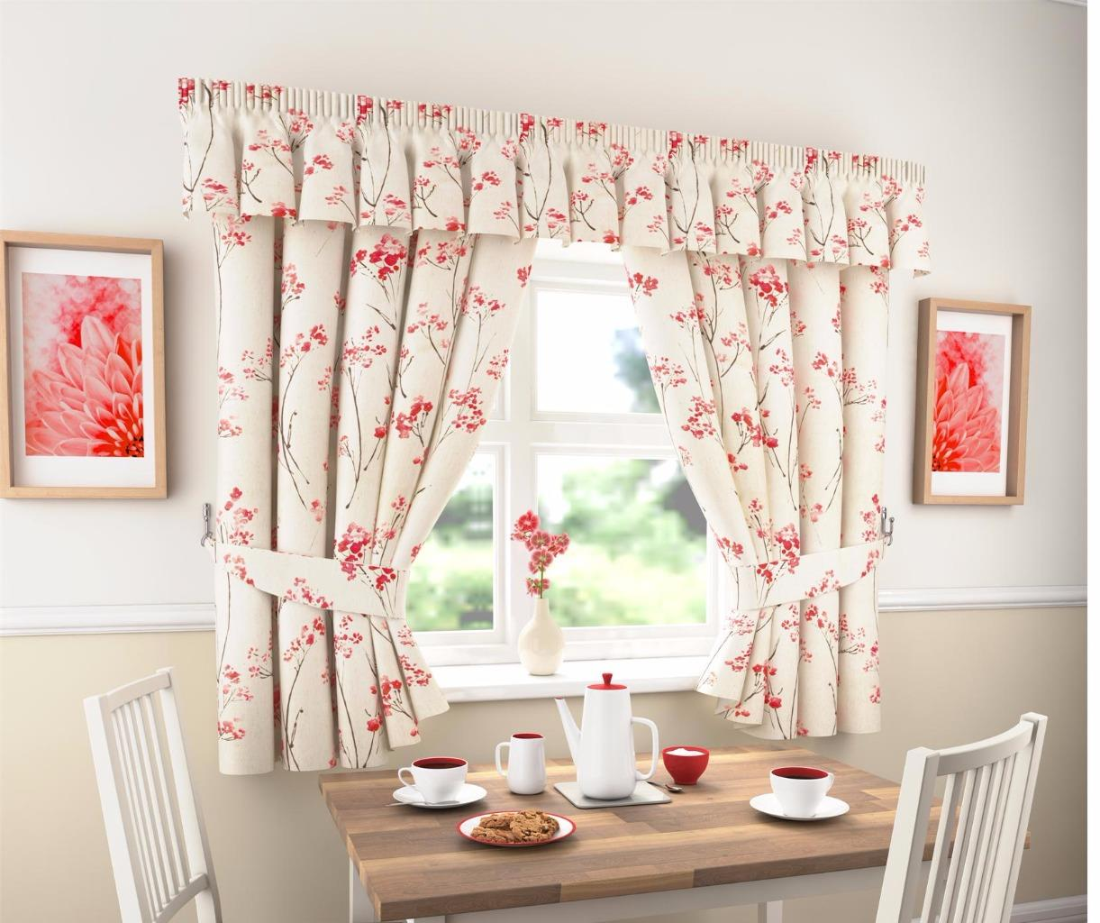 LYDIA THICK PLAIN FLORAL KITCHEN CURTAINS OR PELMET  Many Sizes Available  eBay