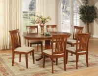 7 PC PORTLAND DINETTE OVAL DINING TABLE w/ 6 MICROFIBER ...