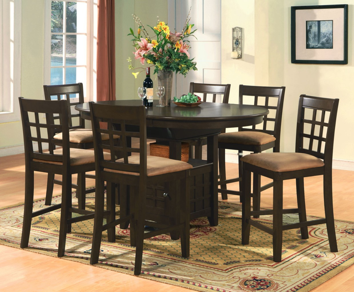 Bar Height Kitchen Table And Chairs Oval Counter Height Dining Set 7pc Table And 6 Bar Stools Ebay