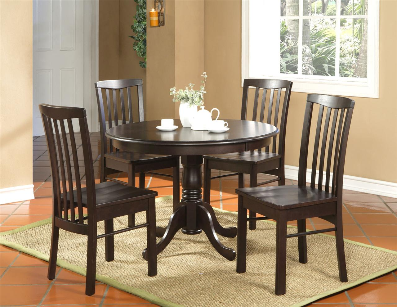 Table And Chairs Set 5pc Round Kitchen Dinette Set Table And 4 Chairs Walnut Ebay