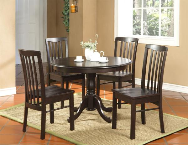 5pc Kitchen Dinette Set Table And 4 Chairs Walnut
