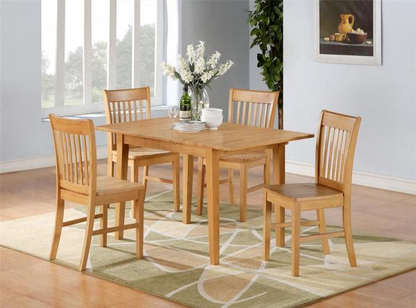 5pc Norfolk Rectangular Dinette Kitchen Dining Table With 4 Chairs In Oak