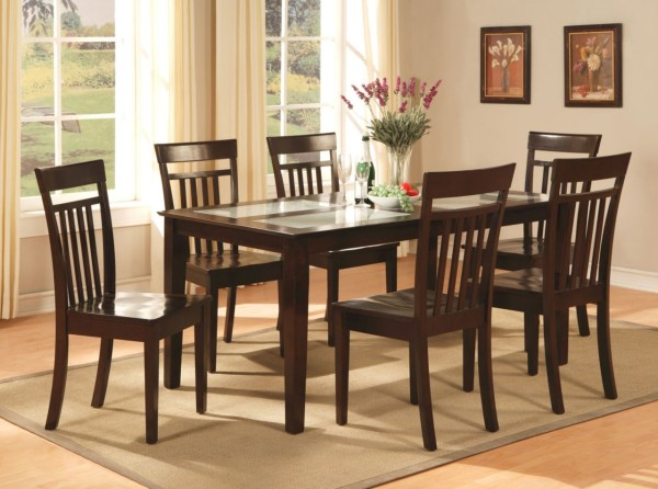 7 Pc Capri Dinette Kitchen Dining Room Set Table With 6 Chairs In Cappuccino