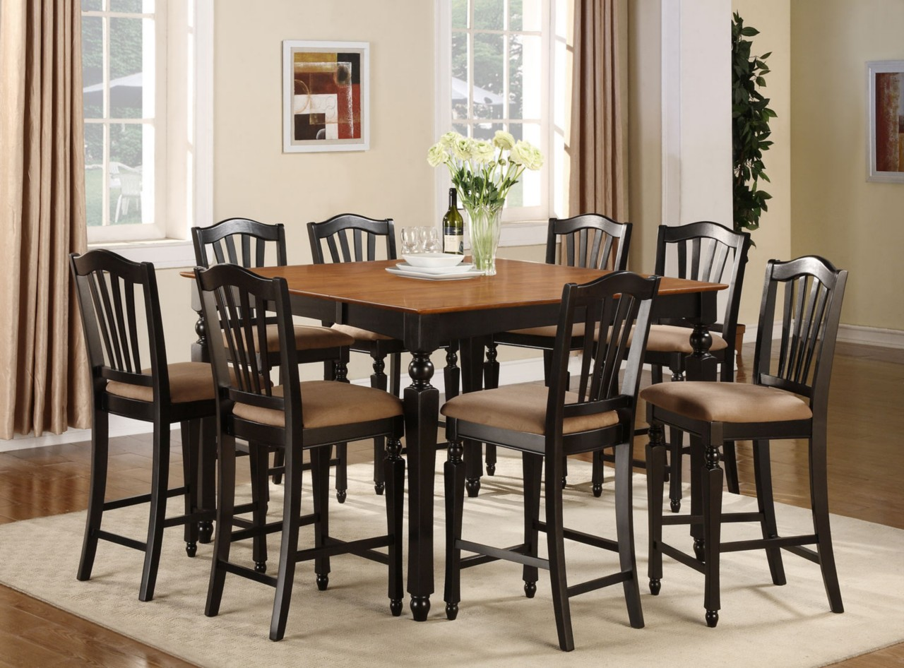 Bar Height Kitchen Table And Chairs 5pc Square Counter Height Dining Room Table W 4 Microfiber