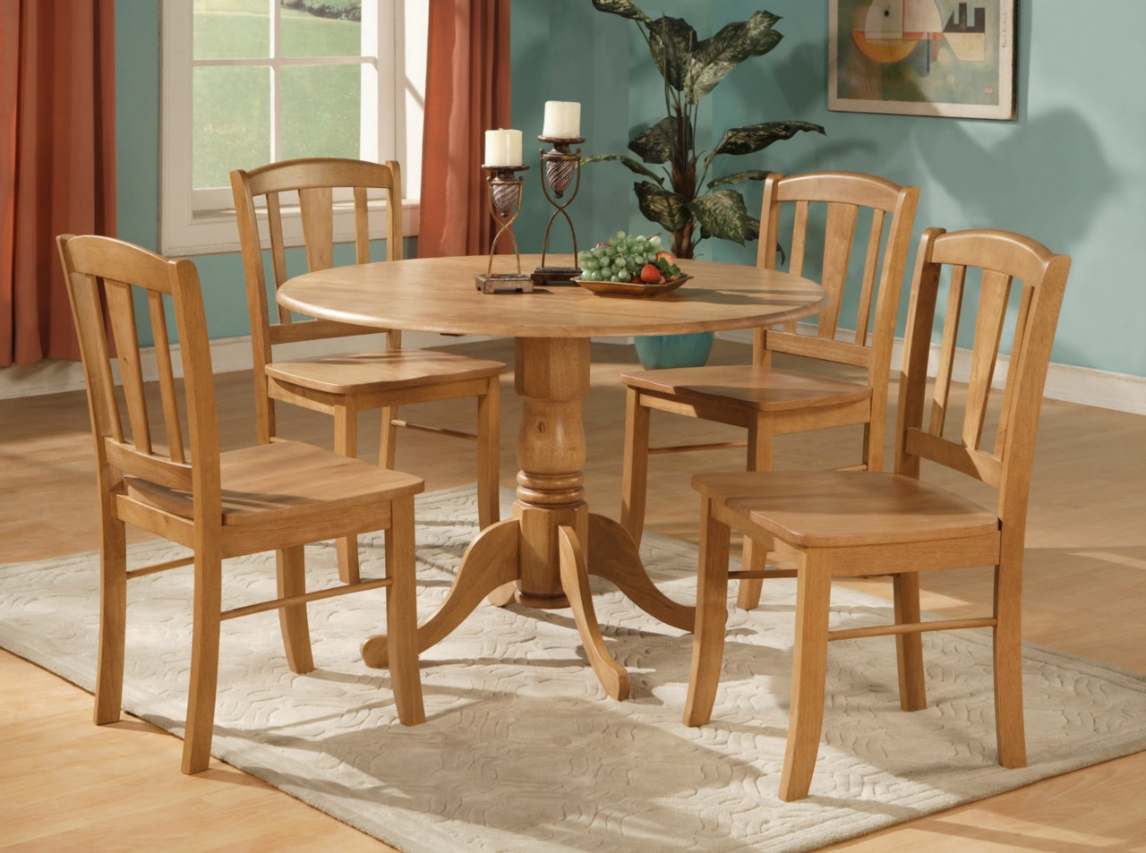 Table And Chairs Set 5pc Round Dinette Kitchen Dining Set Table And 4 Chairs Ebay