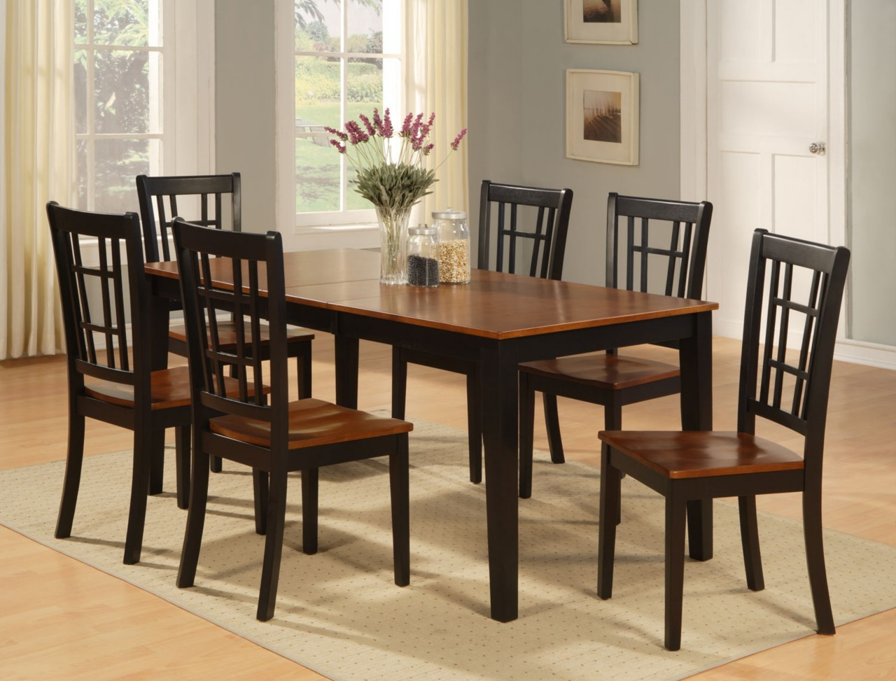 Table And Chairs Set Dinette Kitchen Dining Room Set 7pc Table And 6 Chairs Ebay