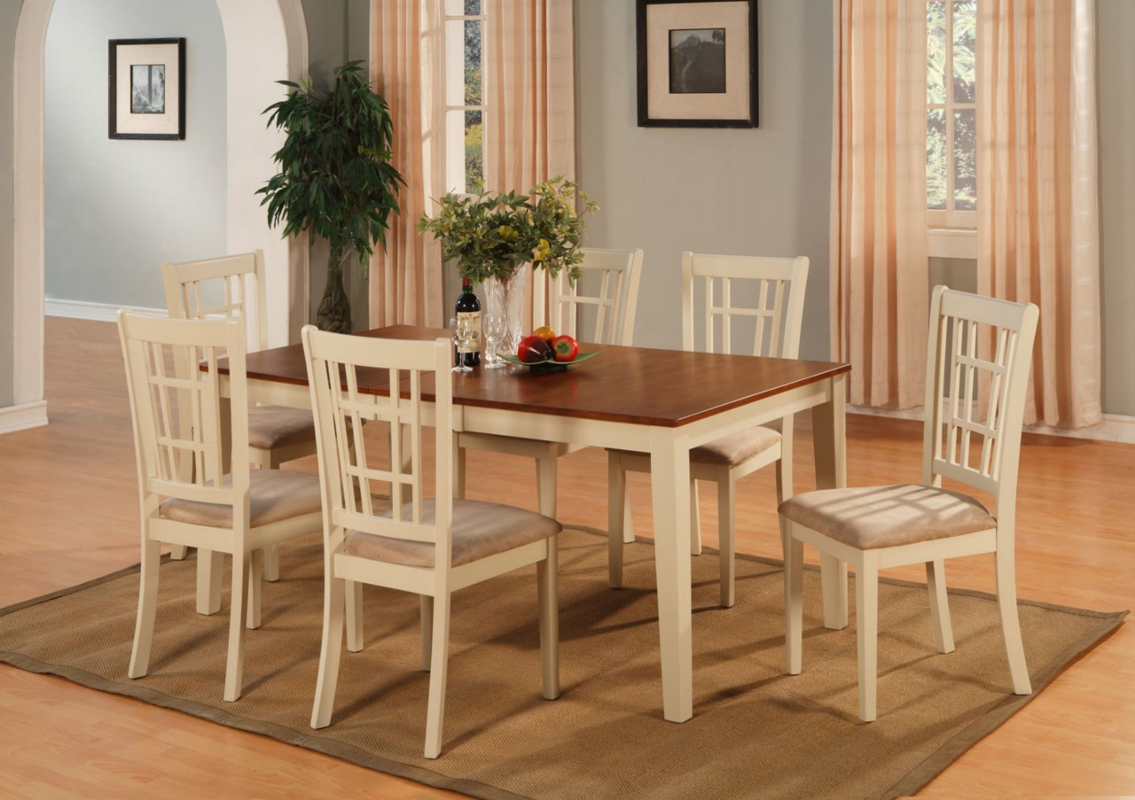 5PC DINETTE KITCHEN DINING ROOM SET TABLE WITH 4 UPHOLSTERY CHAIRS BUTTERMILK  eBay