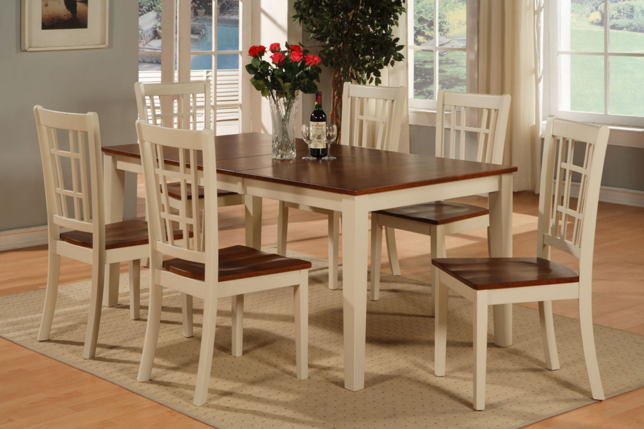 RECTANGULAR DINETTE KITCHEN DINING SET TABLE 6 CHAIRS