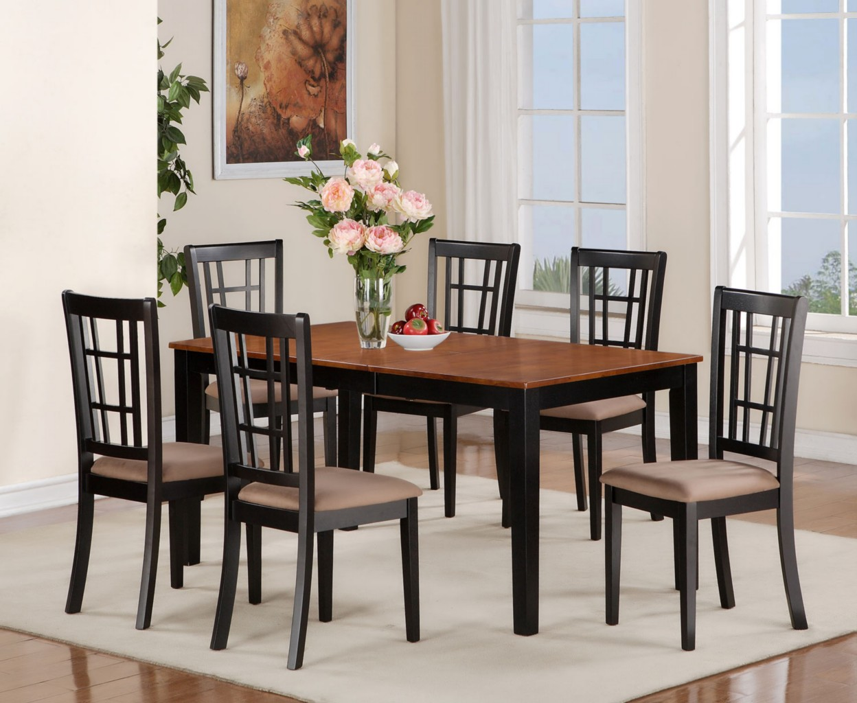 5PC DINETTE KITCHEN DINING SET RECTANGULAR TABLE  4 CHAIRS IN BLACK  CHERRY  eBay