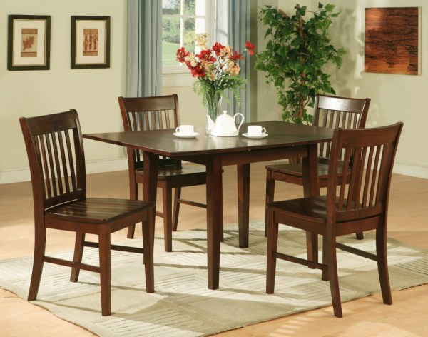 5pc Rectangular Kitchen Dinette Table 4 Chairs Mahogany