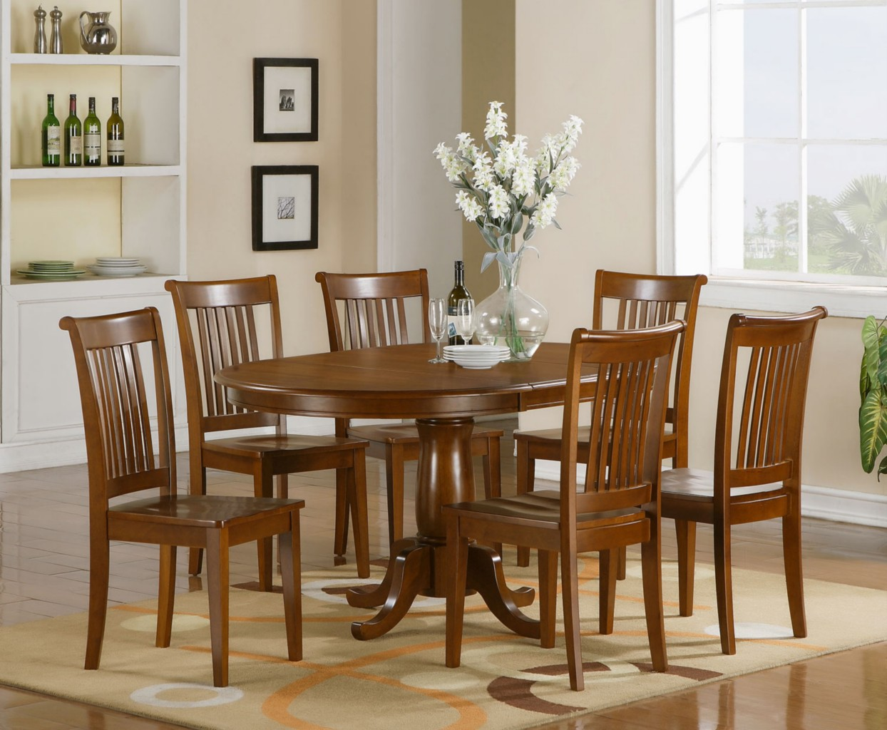 dinning room table and chairs bubble chair stand 7 pc oval dinette dining set 6