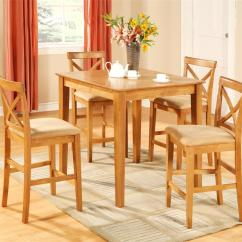 Black Square Pub Table And Chairs Patio Chair Fabric Replacement 5pc Counter Height Set 4 Stools Oak Ebay