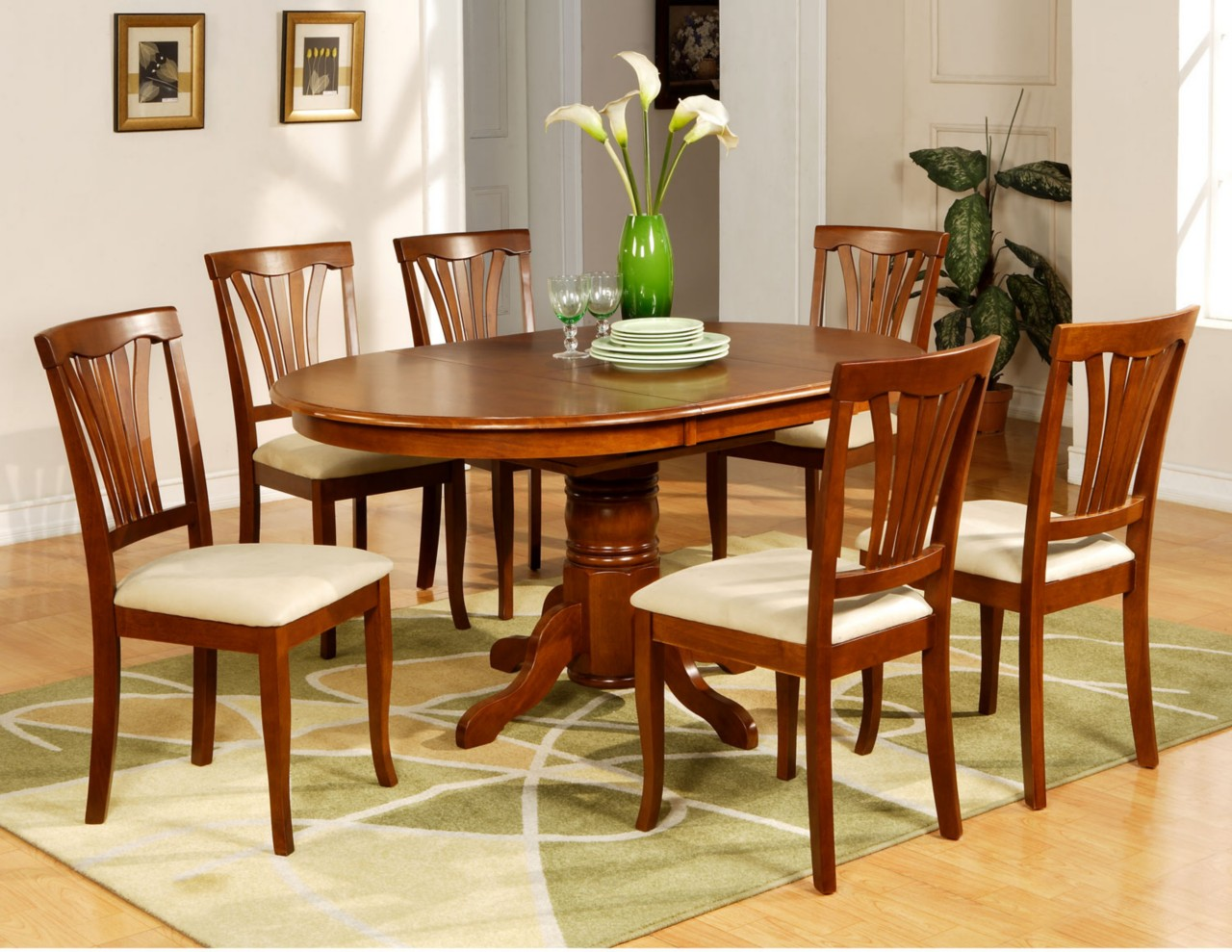 6 Dining Room Chairs 7 Pc Avon Oval Dinette Kitchen Dining Room Table With 6