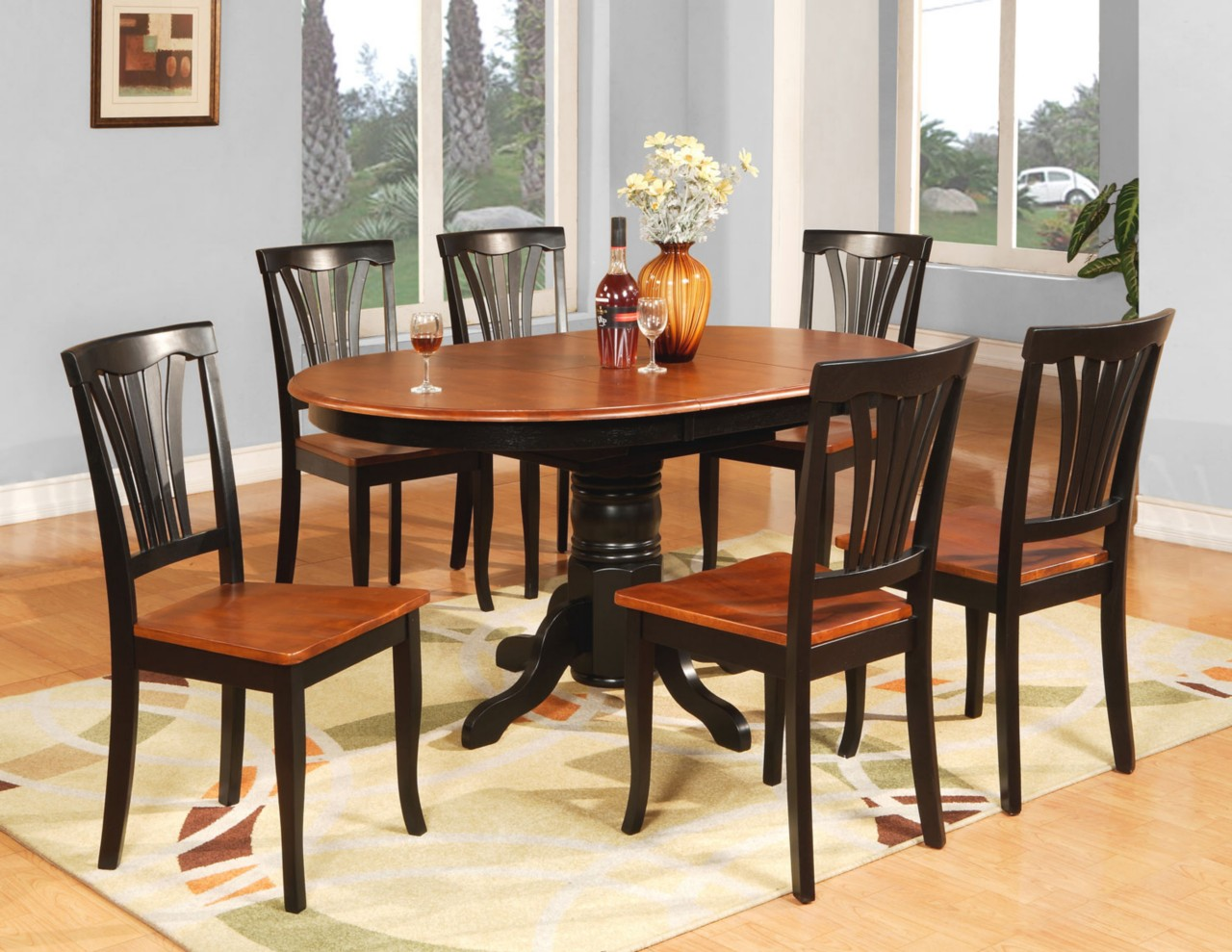 6 Dining Room Chairs 7 Pc Oval Dinette Kitchen Dining Room Table And 6 Chairs Ebay