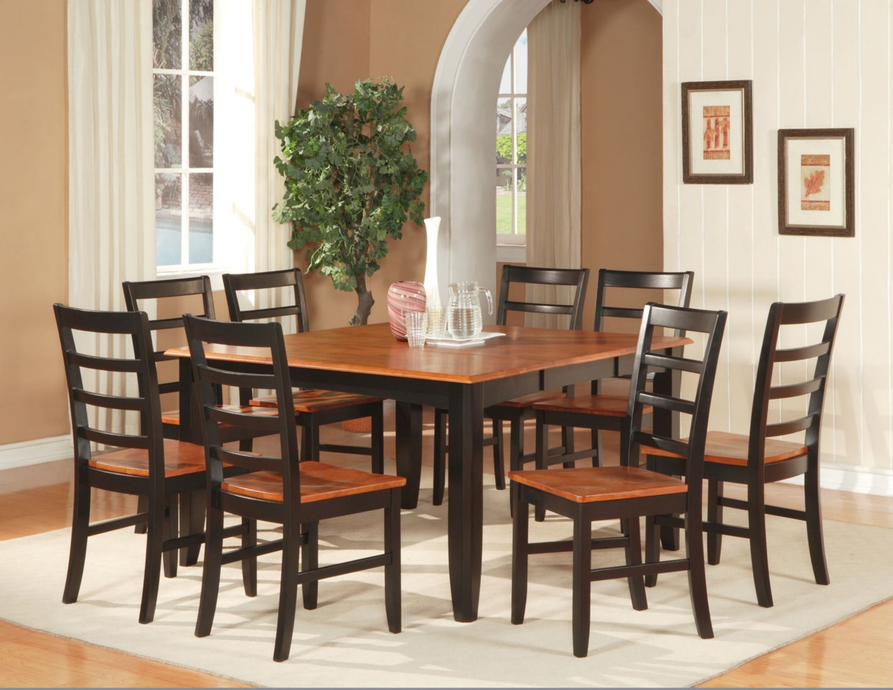 7 PC SQUARE DINETTE DINING ROOM SET TABLE WITH 6 WOOD SEAT