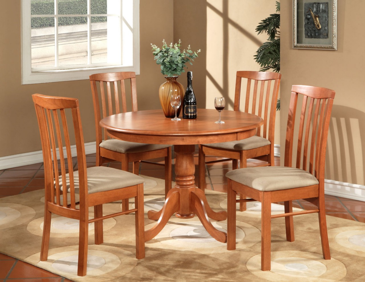 Round Kitchen Table And Chairs Set 5pc Hartland Round Dinette Kitchen Table Set With 4