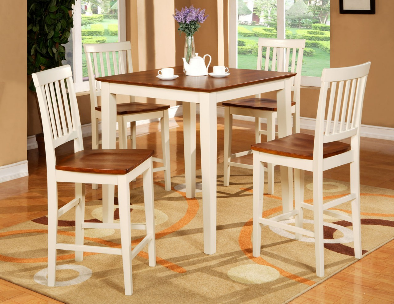 5PC SQUARE PUB COUNTER HEIGHT TABLE SET 4 STOOLS WHITE  eBay