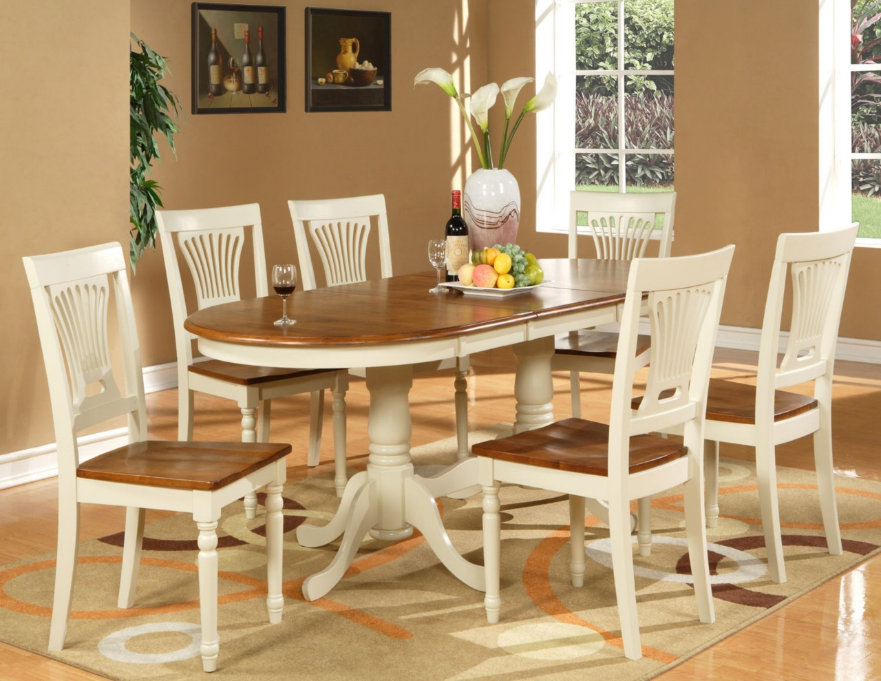 kitchen table with leaf insert vintage appliance 7pc oval dining room set 6 chairs extension ebay