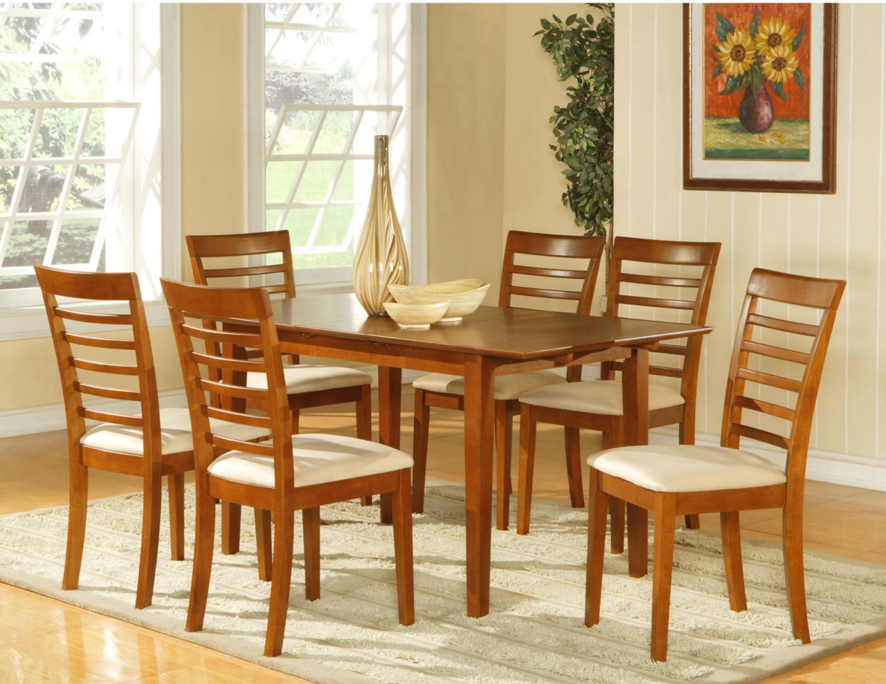 6 chair dining set swing newborn 7pc room dinette table and chairs brown ebay
