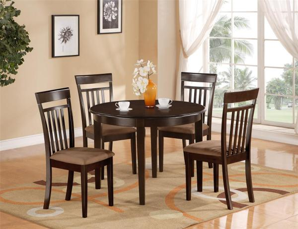 5 Pc Kitchen Dinette Table & 4 Chairs Cappuccino