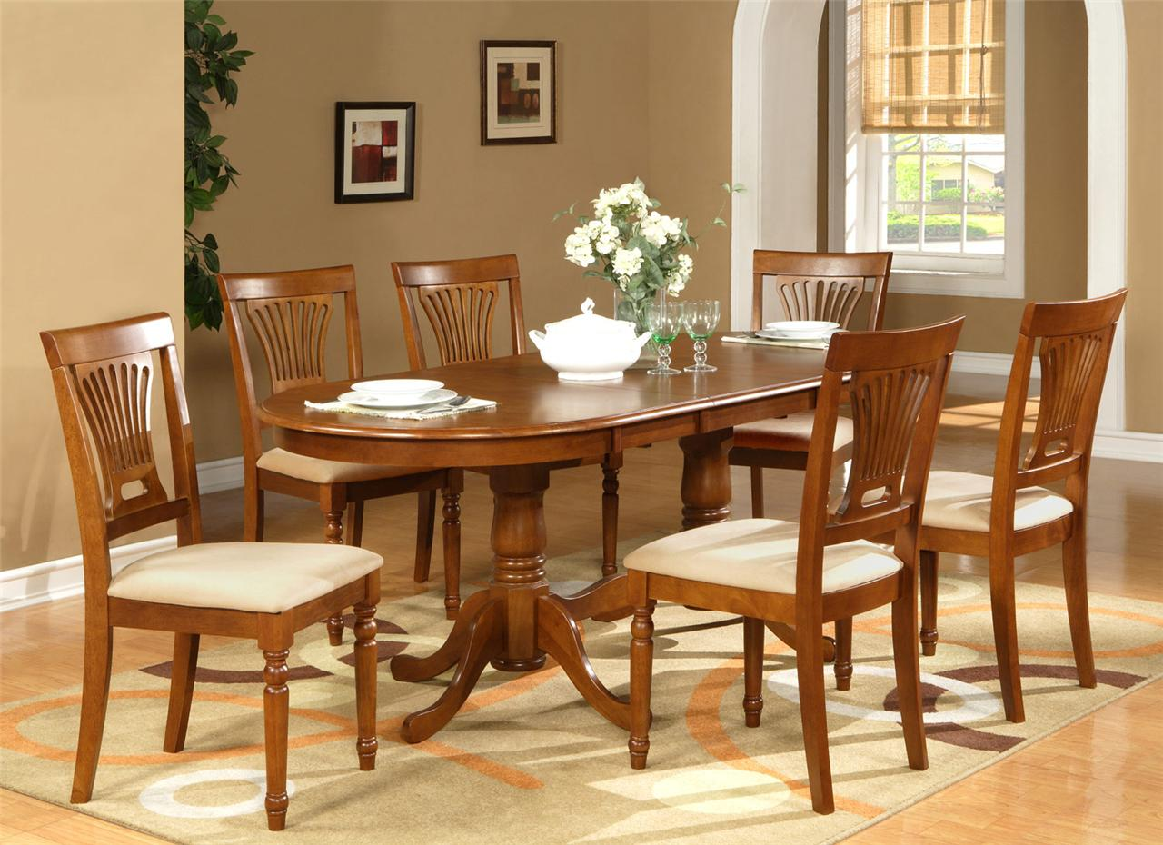7PC OVAL DINING ROOM SET TABLE 42X78 with LEAF and 6