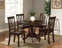 "5PC DINETTE KITCHEN SET 36"" ROUND TABLE WITH 4 WOOD SEAT ..."