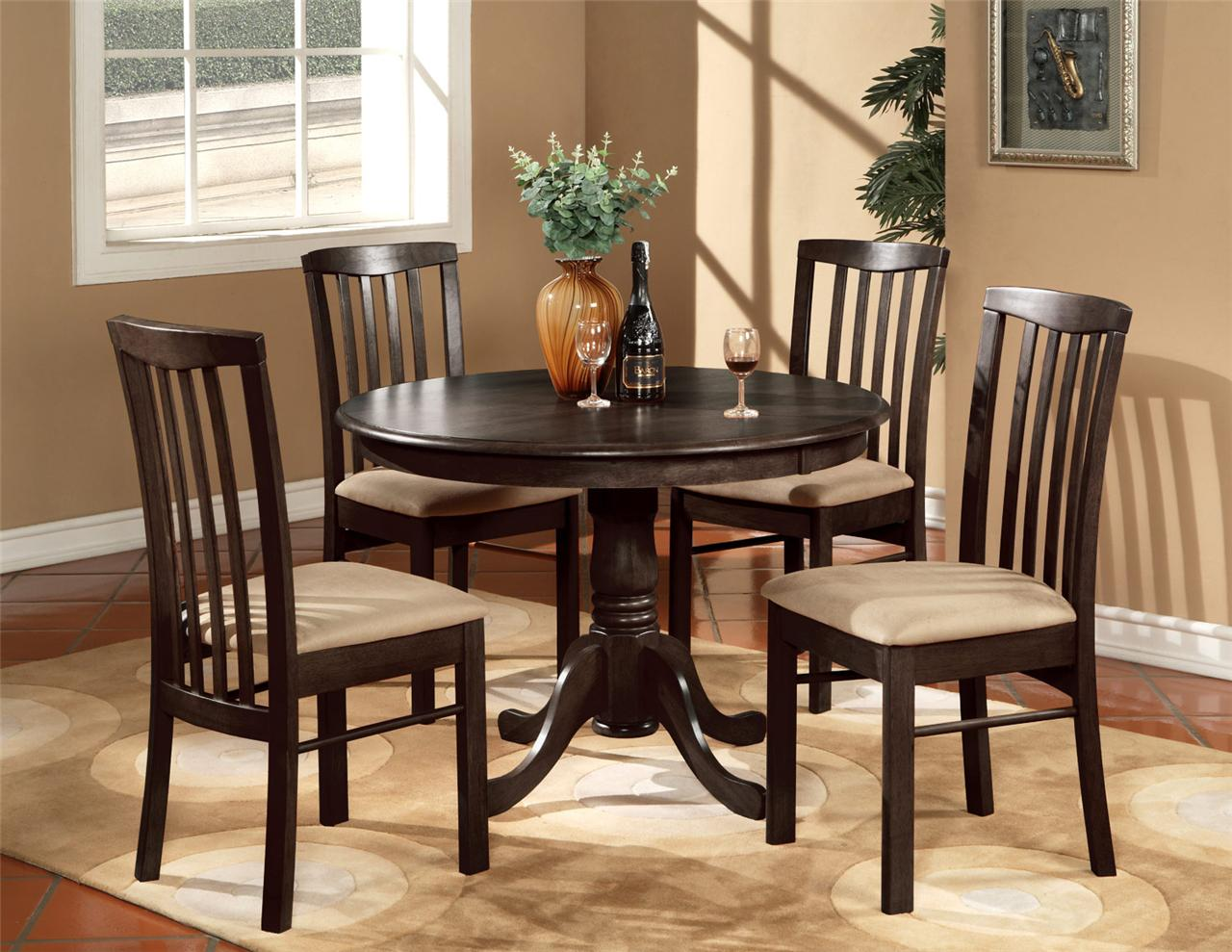 5PC ROUND 42 KITCHEN DINETTE SET TABLE AND 4 WOOD OR