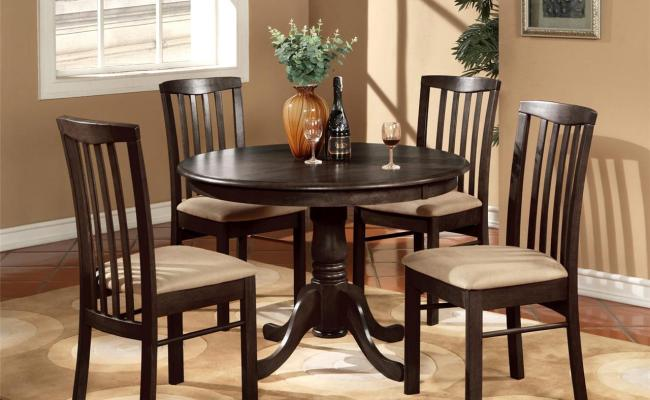 3pc Round 42 Kitchen Dinette Set Table And 2 Wood Or