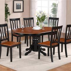Kitchen Table And Chair Home Studio 7 Pc Oval Dinette Dining Set W 6 Wood Seat