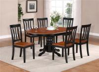 7-PC OVAL DINETTE KITCHEN DINING SET TABLE w/ 6 WOOD SEAT ...