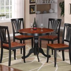 Black Round Kitchen Table And Chairs Cross Back Dining White 5pc Dinette 4