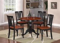 5PC ROUND TABLE DINETTE KITCHEN TABLE & 4 CHAIRS BLACK