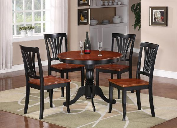 5pc Table Dinette Kitchen & 4 Chairs Black Saddle Brown